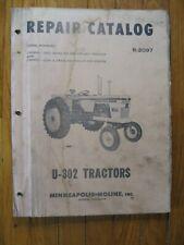 U 302 Minneapolis Moline Repair Parts Catalog Manual Original