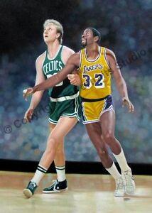 Larry-Bird-amp-Magic-Johnson-Original-Hand-Painted-NBA-Oil-Painting-on-Canvas-XL