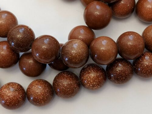 Brown 10mm Goldsand Stone Round Bead Qty 10 Hole: 1mm