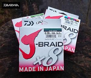 NEW-DAIWA-J-BRAID-X8-FISHING-LINE-150m-SPOOL-DARK-GREEN-AND-BREAKING-STRAINS