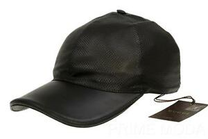35d092a642f Image is loading NEW-GUCCI-PERFORATED-LEATHER-LOGO-BASEBALL-BALL-CAP-
