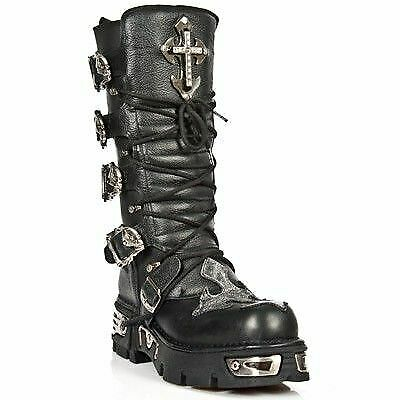 New Rock 1034 S1 Buffalo Leather Boot Silver T Cro