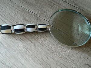XL-Handlupe-10-cm-Echt-Glas-Lesehilfe-Vergroesserungsglas-Leselupe-Lupe-Perlmutt