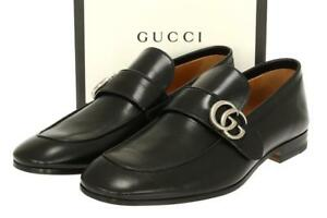 fe59203fe46 Image is loading NEW-GUCCI-BLACK-LEATHER-DOUBLE-G-LOAFERS-SHOES-