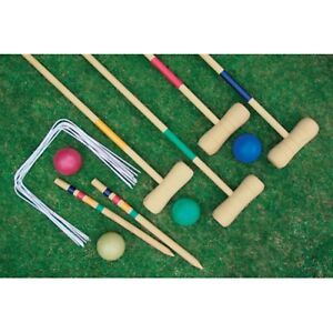 Image Is Loading Croquet Set Size 4 Player Garden Lawn