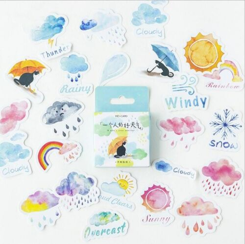 DIY 46X//set Cat weather Stickers Sealing sticker Diary Decoration Scrapbooking