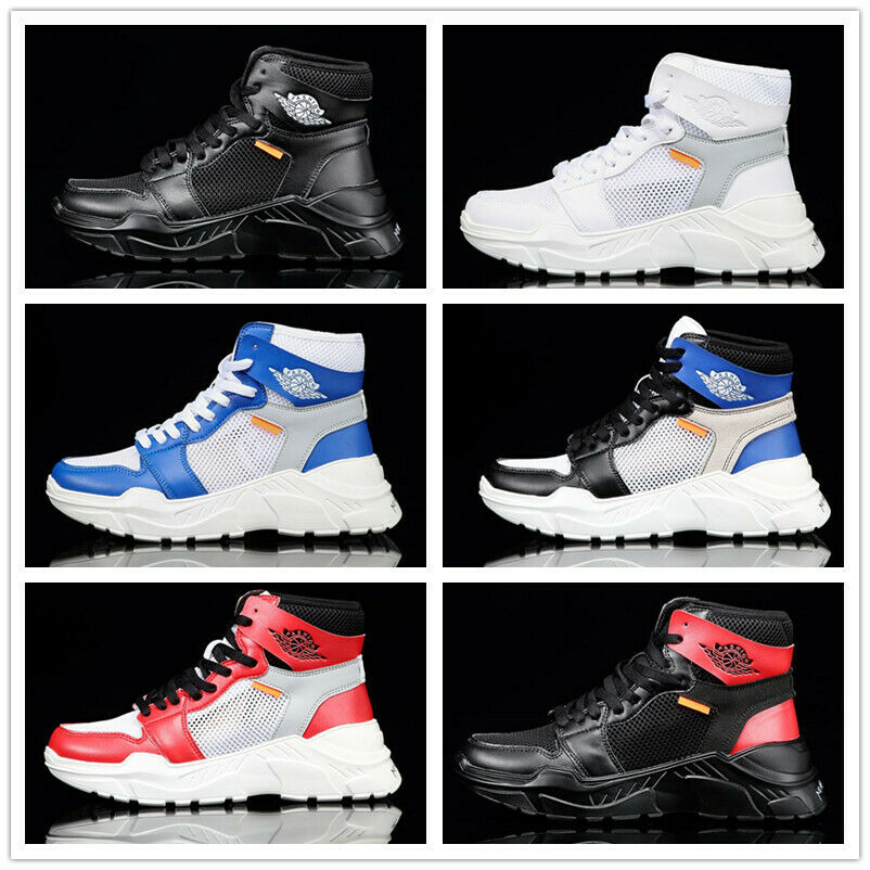 Fashion Mens Sneakers shoes Lace Up Round Toe High Top Running Sport Athletic