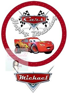 Image Is Loading Disney Cars Cake Topper Lightning Mcqueen Personalised Edible