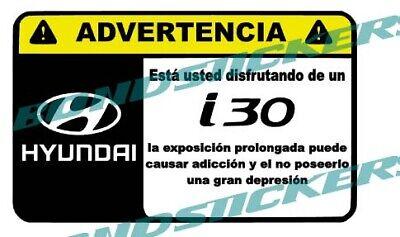 Vinilo impreso pegatina ADVERTENCIA HYUNDAI I30 N RACING STICKER DECAL