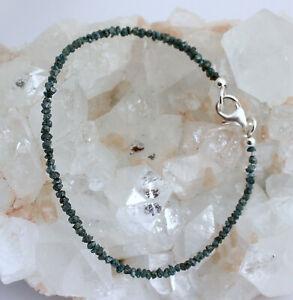 Roh Diamant Armband Edelsteinarmband blau Rohdiamant armkette 925 Silber 18,5 cm
