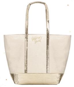 Details about VICTORIA'S SECRET TOTE BAG White Sparkle Sequin