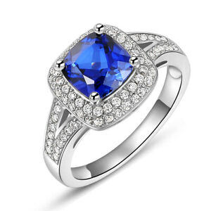 Gemstone-Ring-For-Women-Cushion-Blue-Sapphire-White-Cz-925-Sterling-Silver-5-10