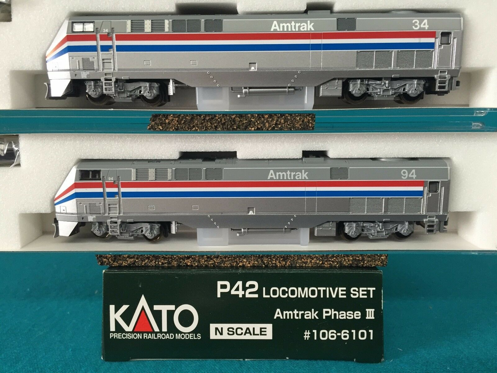 176-6101A Kato N Scale P42 Amtrak Phase III Locomotive -2 -2 -2 Car Set  Rd 34 94 NIB 20b557