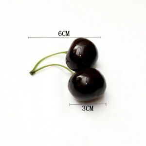 10-Artificial-Fake-Plastic-Cherries-Fruit-Home-Decor-Realistic-Red-Black-Cherry
