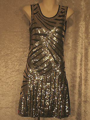 1920 Great Gatsby Style Flapper  Party Dress Art Deco Sequins Night Club Wear M