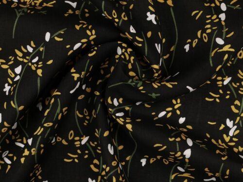 Blumen 142-145cm schwarz-gelb Viskose Mousseline