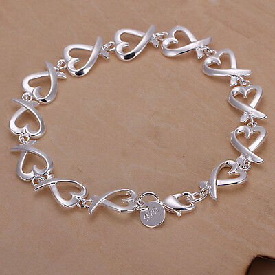 New Women 925 Sterling Silver Plated Heart String Charm Chain Bracelet Jewelry