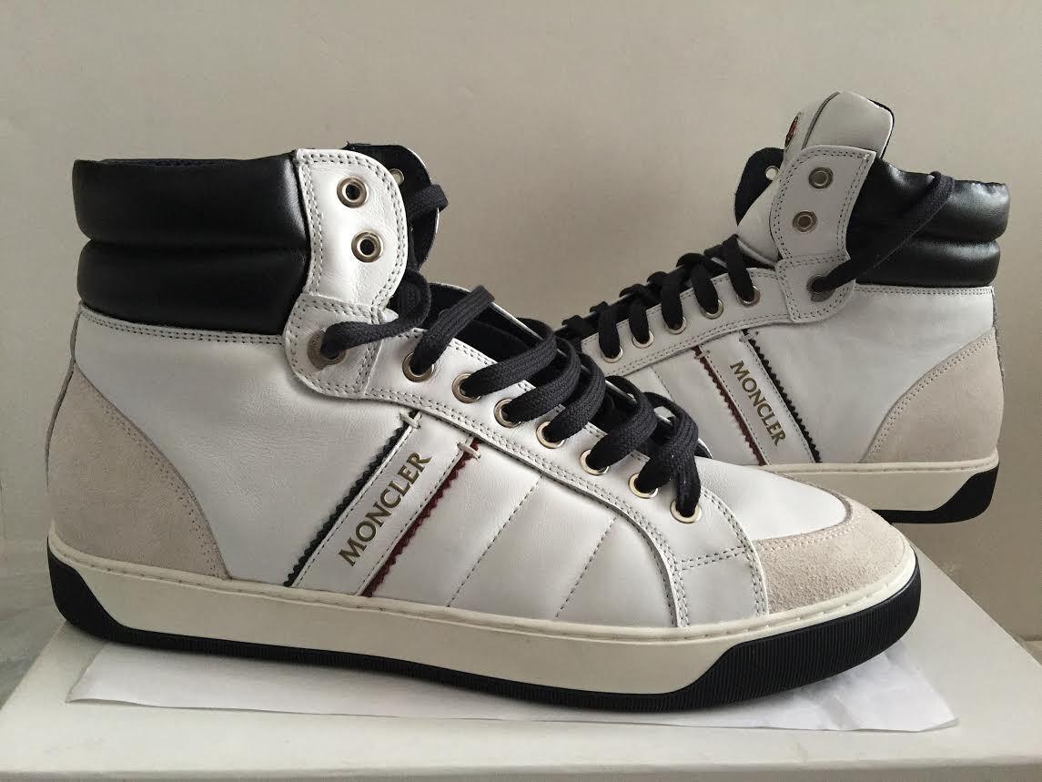 Para Hombre de de de Cuero blancoooo Nuevo Lyon MONCLER Hi-Top Zapatillas zapatillas Tamaño nos 12 EU 45 ee423b