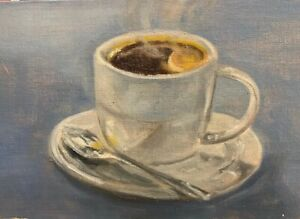 Coffee-Cup-and-Spoon-still-life-Original-Oil-Painting
