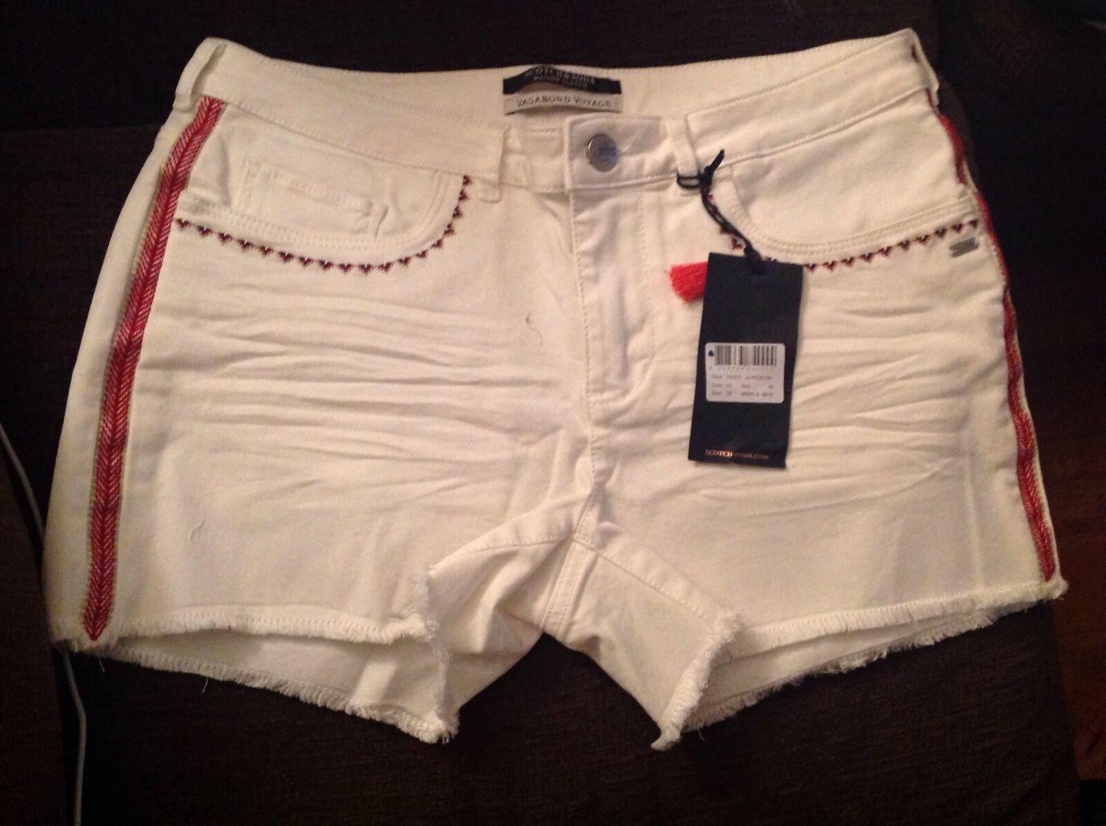 SCOTCH & SODA White Denim Shorts-Vagabond Voyage Collection, NWT,sz.29