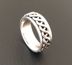 Men-Sterling-Silver-Ring-Spinner-Spinning-Knot-Band-9mm-Rotate-Sz-9-10-11-12-13