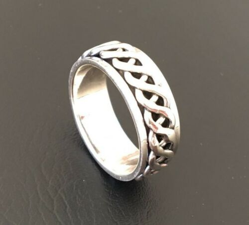 Men 925 Sterling Silver Ring Spinner Spinning Knot Band Solid 9 Mm Rotating 9 13 by Ebay Seller