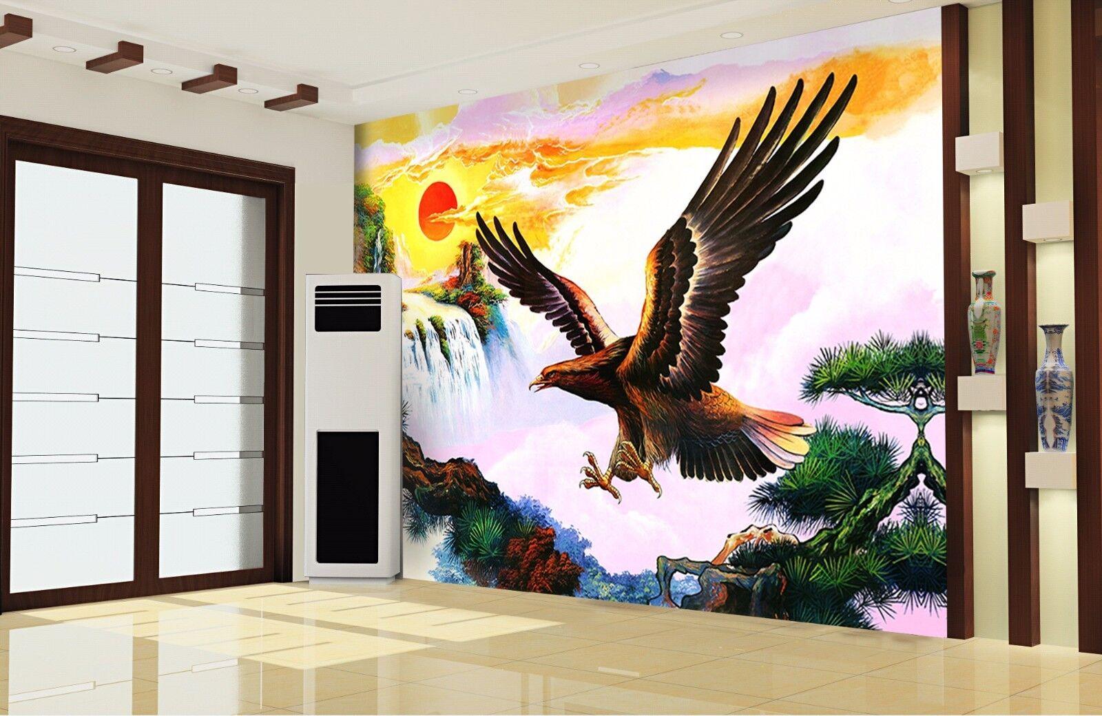 3D Sun Eagle Pine 97 Wall Paper Murals Wall Print Wall Wallpaper Mural AU Summer