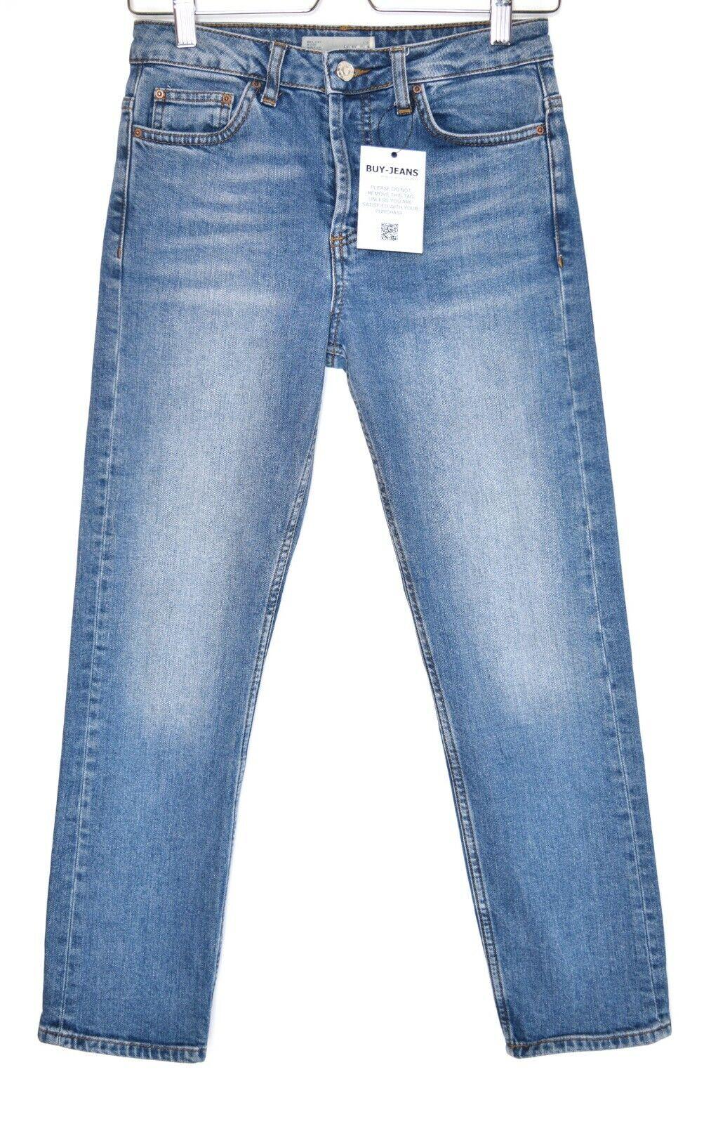 Topshop GIRLFRIEND High Rise Slim Leg Stonewashed bluee Jeans Size 8 W26 L30