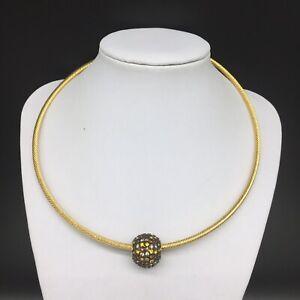 Joan-Rivers-Chain-Necklace-Crystal-Rhinestone-Ball-Pendant-Topaz-Amber-Gold-Tone