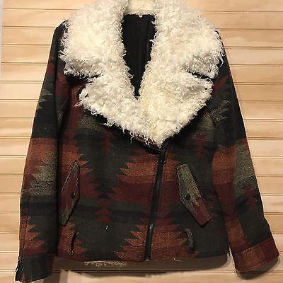 Free People Wool Sherpa Moto Coat Motorcycle Aztec Jacket L