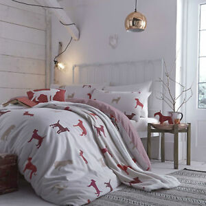 Catherine-Lansfield-Houndstooth-Hounds-Dog-Bedding-Quilt-Duvet-Cover-Cotton-Rich