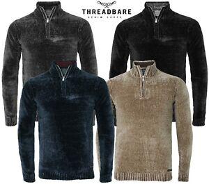 Hommes-elimee-Chenille-Half-Zip-Pull-Knitwear-Sweater-Top-Pull-Torres