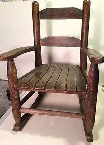 Vintage Child S Wooden Oak Rocking Chair Kids Doll Small