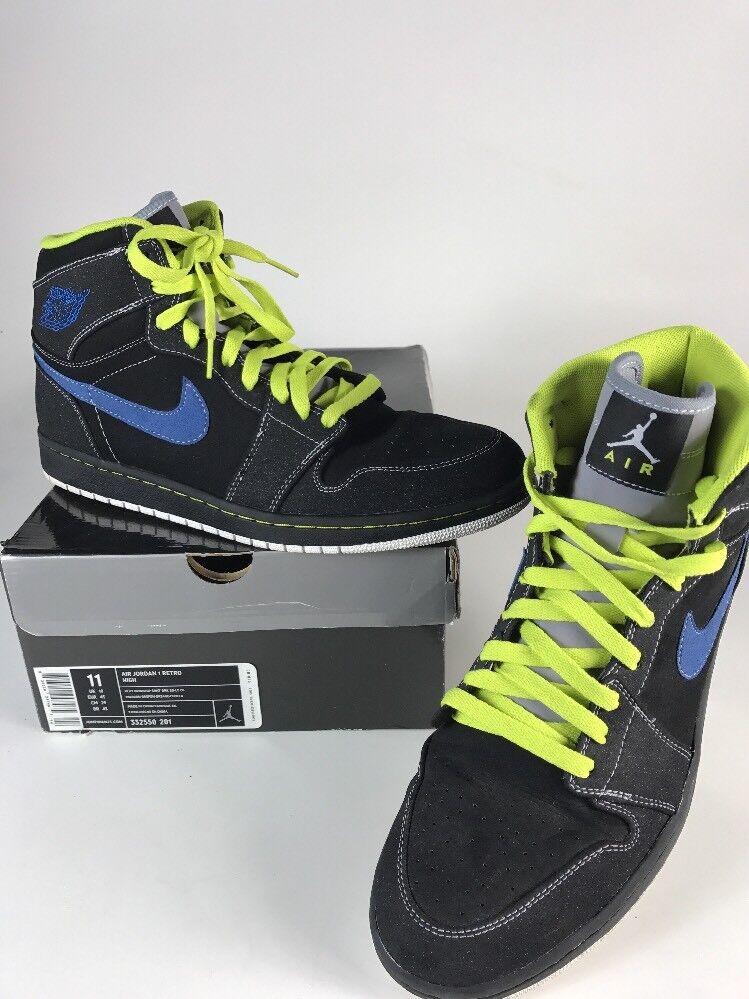 Nike Air Jordan Retro 1 Black/ Cyber Black-Blue Sapphire 332550-005 Sz 11