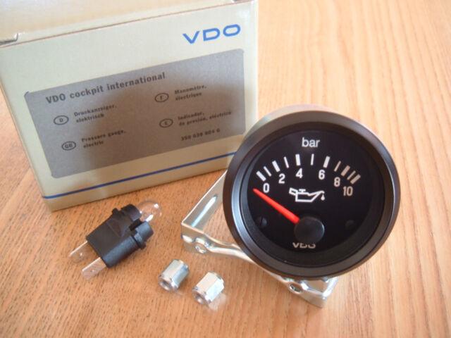 VDO Cockpit International Öldruckanzeige 0-10 Bar 52mm 12V Öldruck VW Audi Opel