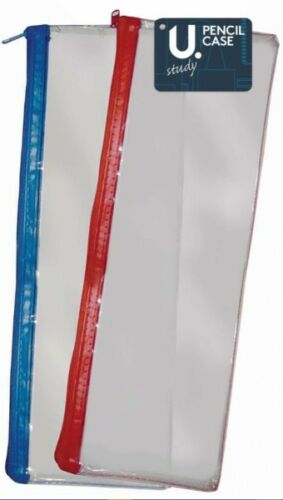 "13/"" clear exam pencil case 20cm transparent various coloured zip - 33cm 8/"""