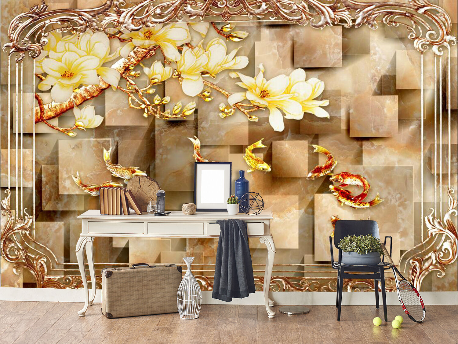 3D Marble Flowers Fishes 964 Paper Wall Print Wall Decal Wall Deco Indoor Murals