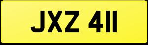 JAX SLIM 1's DATELESS CAR REG NUMBER PLATE JXZ 411 / JACK JCK JAK JX JAC JACKSON