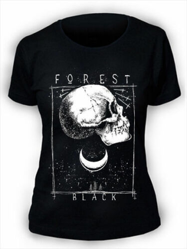 Black Forest T-Shirt Ladies Womens Gothic Skull Moon Trees Night