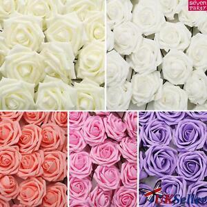 144 Artificial Foam Roses Flowers Wedding Bride Bouquet Party