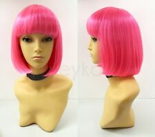 Hot Pink Short Bob Wig Straight Bangs Synthetic Cosplay Page Boy 9""