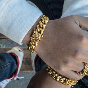 Para-Hombres-Pulsera-de-enlace-encintado-cubano-de-Miami-18K-Oro-Acero-Inoxidable-Moda-Joyeria-9-034