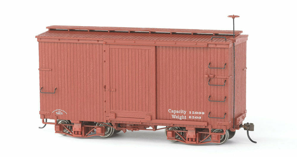 Bachmann - 18' Wood Boxcar - Spectrum® -- Data Only (Oxide Red) pkg(2) - On30