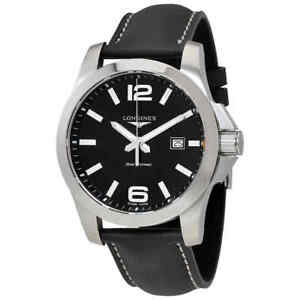 Longines-Conquest-Black-Dial-Black-Leather-Men-039-s-Watch-L37604563