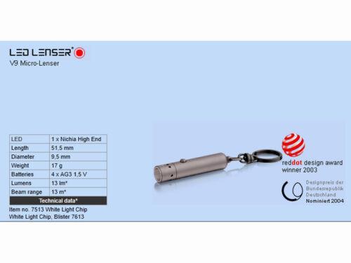 LED Lenser zweibrüder v9 micro-LENSER 7513 lampe de poche avec logo