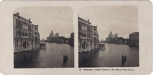 Venezia Grand Canal Italia Foto Stereo Vintage Analogica