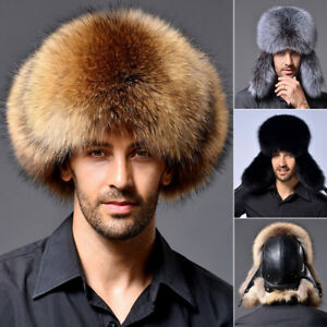 6ff7d5d83d2 Men s Faux Raccoon Fur Russian Hat Lamb Leather Bomber Caps Winter ...