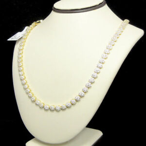 10k Yellow Gold Tone Flower Cluster 18 24 1 Row Tennis Chain A