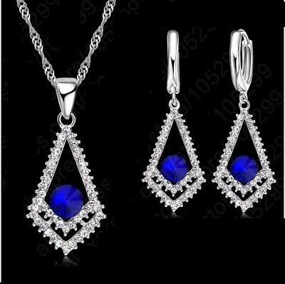 Damen Schmuckset 925 Silber Neu Zirkonia Halskette Kette Ohrringe Ohrstecker Moderater Preis
