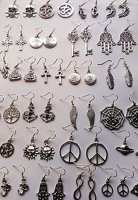 Silver Tibetan Earrings *Pentagram*Feather*Hamsa*Yin Yang*Peace*Elephant*